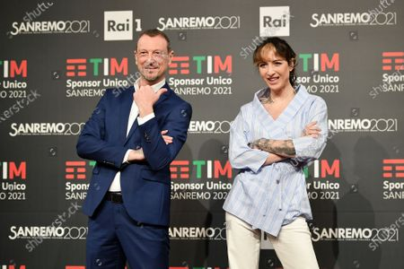 Stock Picture of Sanremo Festival host and artistic director, Amadeus and Ema Stokholma