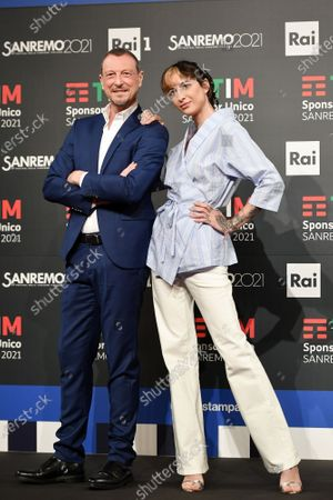 Sanremo Festival host and artistic director, Amadeus and Ema Stokholma