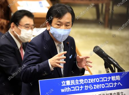Stock Image of Japanese opposition Constitutional Democratic Party of Japan Yukio Edano quesyions to Prime Minister Yoshihide Suga at Lower House's budget committee session at the National Diet in Tokyo on Monday, March 1, 2021.