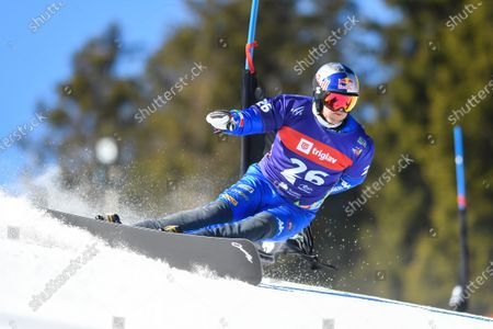 Roland Fischnaller of Italy in action during the first qualifying round of  Men's Parallel Giant Slalom at FIS Snowboard Alpine World Championship - Rogla 2021.