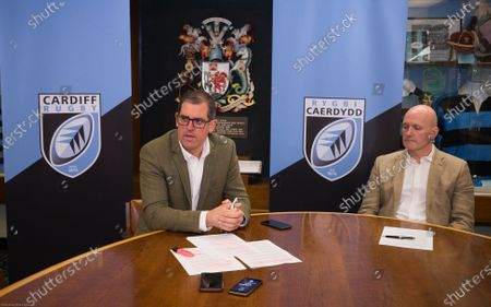 Stock Image of Cardiff Blues Chief Executive Richard Holland, left, and Chairman Alun Jones at the announcement the Cardiff Blues will become Cardiff Rugby at the start of the 2021-22 season