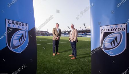 Cardiff Blues Chief Executive Richard Holland, left, and Chairman Alun Jones at the announcement the Cardiff Blues will become Cardiff Rugby at the start of the 2021-22 season