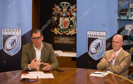 Stock Photo of Cardiff Blues Chief Executive Richard Holland, left, and Chairman Alun Jones at the announcement the Cardiff Blues will become Cardiff Rugby at the start of the 2021-22 season