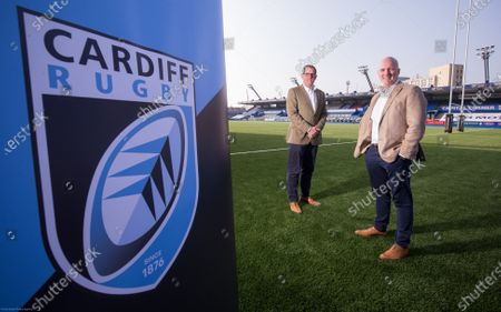 Stock Picture of Cardiff Blues Chief Executive Richard Holland, left, and Chairman Alun Jones at the announcement the Cardiff Blues will become Cardiff Rugby at the start of the 2021-22 season