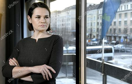 Belarusian opposition leader Svetlana Tikhanovskaya pose before an interview with the media in Helsinki, Finland on March 1, 2021. Opposition leader Tikhanovskaya is on a four-day official visit to Finland. During her visit Tikhanovskaya will meet with Finnish President Mr. Sauli Niinisto, Prime Minister Sanna Marin and Foreign Minister Pekka Haavisto.