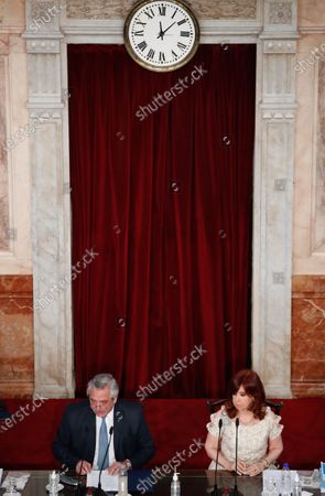 Stock Image of The president of Argentina Alberto Fernandez (L) delivers his speech on the State of the Nation that marks the inaugural session of the 2021 Congress, together with Vice President Cristina Fernandez de Kirchner (R), in Buenos Aires, Argentina, 01 March 2021.