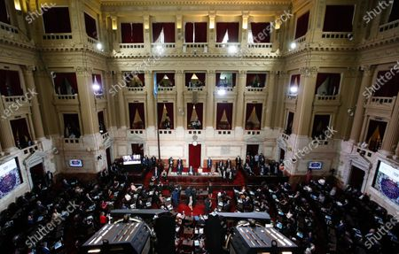 Stock Photo of General view of the congress where the president of Argentina Alberto Fernandez (L) delivers his speech on the State of the Nation that marks the inaugural session of the 2021 Congress, together with Vice President Cristina Fernandez de Kirchner (R), in Buenos Aires, Argentina, 01 March 2021.