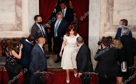 The president of Argentina Alberto Fernandez (back) arrives with the Vice President Cristina Fernandez de Kirchner (R) to delivers his speech on the State of the Nation that marks the inaugural session of the 2021 Congress, in Buenos Aires, Argentina, 01 March 2021.