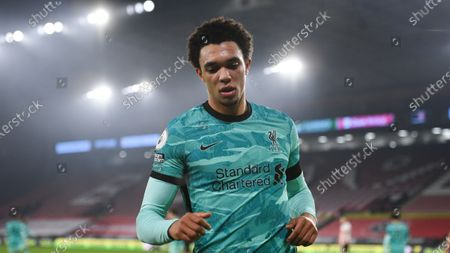 Liverpool's Trent Alexander-Arnold during the English Premier League soccer match between Sheffield United and Liverpool at Bramall Lane stadium in Sheffield, England