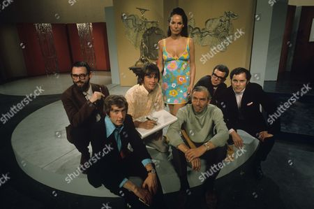 Stock Photo of Dick Vosburgh, Eric Idle, Terry Gilliam, Gina Warwick, Frank Muir, Barry Cryer and Kenneth Cope.