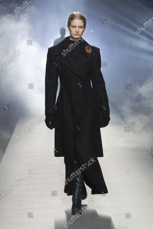 Stock Picture of A Model wearing an outfit from the Womens Ready to wear, pret a porter, collections, winter  2021, original creation, during the Womenswear Fashion Week in Milan, from the house of Alberta Ferretti