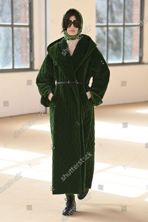 Stock Image of A Model wearing an outfit from the Womens Ready to wear, pret a porter, collections, winter  2021, original creation, during the Womenswear Fashion Week in Milan, from the house of Max Mara