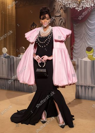 Winnie Harlow wearing an outfit from the Womens Ready to wear, pret a porter, collections, winter 2021, original creation, during the Womenswear Fashion Week in Milan, from the house of Moschino
