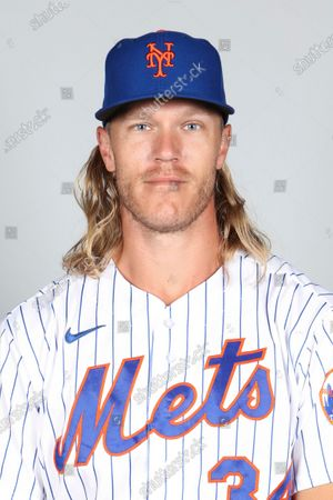 This is a 2021 photo of Noah Syndergaard of the New York Mets baseball team. This image reflects the New York Mets active roster as of when this image was taken