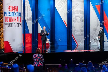 Stock Photo of President Joe Biden participates in a CNN Town Hall with Anderson Cooper Monday, Feb. 16, 2021, at the Pabst Theater in Milwaukee, Wisconsin.