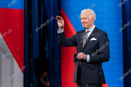 Stock Picture of President Joe Biden participates in a CNN Town Hall with Anderson Cooper Monday, Feb. 16, 2021, at the Pabst Theater in Milwaukee, Wisconsin.