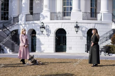 Stock Picture of First Lady Jill Biden appears on the Kelly Clarkson show Saturday, Feb. 20, 2021, with First Dogs Champ and Major on the South Lawn of the White House.
