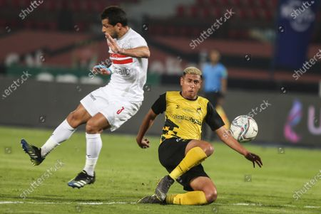 Stock Photo of Wadi Degla's Ahmed Said ( R) in action against Zamalek's Tarek Hamed during the Egyptian Premier League soccer match between Wadi Degla and Zamalek SC at Al Salam Stadium in Cairo, Egypt, 01 March 2021.