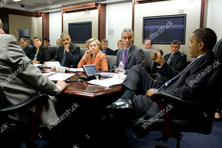 President Barack Obama attends a terrorism threat briefing in the Situation Room of the White House, Left to right, National Security Advisor Gen. James Jones, CIA Director Leon Panetta, Homeland Security Secretary Janet Napolitano, Attorney General Eric Holder, Secretary of State Hillary Clinton and Chief of Staff Rahm Emanuel.