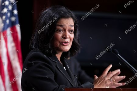 Democratic Representative from Washington Pramila Jayapal participates in a news conference held to introduce the 'Ultra-Millionaire Tax Act', on Capitol Hill in Washington, DC, USA, 01 March 2021. The measure would hike the taxes of the extremely wealthy in an attempt to create revenue to offset income disparities and lost federal funds due to the coronavirus COVID-19 pandemic.