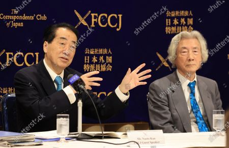 Former Japanese Prime Ministers Junichiro Koizumi (R) and Naoto Kan (L) hold a press conference at the Foreign Correspondents' Club of Japan in Tokyo on Monday, March 1, 2021. Koizumi and Kan urged Japanese government to quit nuclear power plant ten years after TEPCO's Fukushima nuclear plant was crippled by tsunami and earthquake.