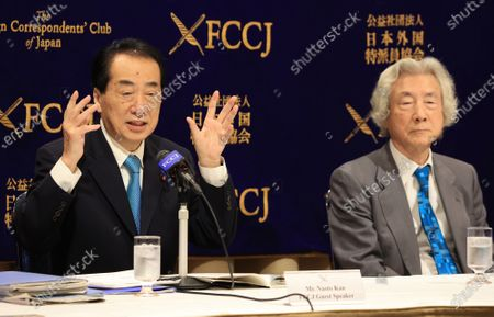 Stock Photo of Former Japanese Prime Ministers Junichiro Koizumi (R) and Naoto Kan (L) hold a press conference at the Foreign Correspondents' Club of Japan in Tokyo on Monday, March 1, 2021. Koizumi and Kan urged Japanese government to quit nuclear power plant ten years after TEPCO's Fukushima nuclear plant was crippled by tsunami and earthquake.