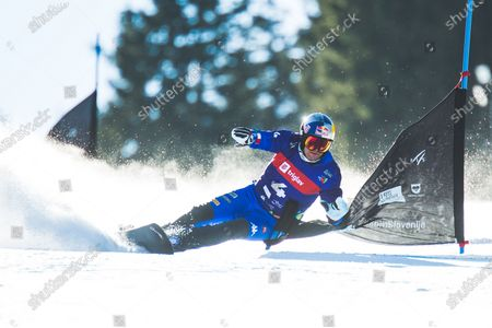 Stock Image of Roland Fischnaller (ITA) during parallel giant slalom at FIS Snowboard Alpine World Championships 2021