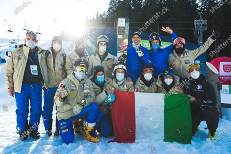 Stock Picture of Roland Fischnaller (ITA) with team Italy during parallel giant slalom at FIS Snowboard Alpine World Championships 2021