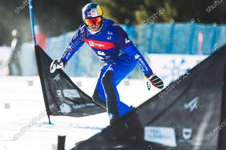 Roland Fischnaller (ITA) during parallel giant slalom at FIS Snowboard Alpine World Championships 2021