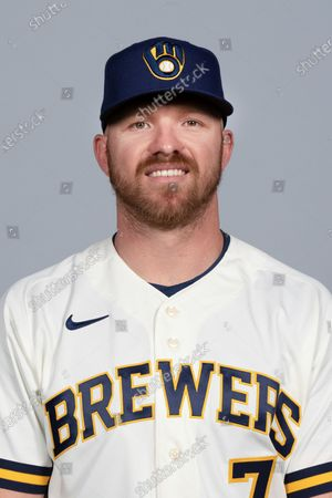 Stock Image of This is a 2021 photo of Derek Fisher of the Milwaukee Brewers baseball team. This image reflects the Milwaukee Brewers active roster as of when this image was taken