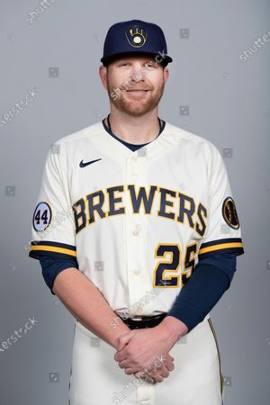 This is a 2021 photo of Brett Anderson of the Milwaukee Brewers baseball team. This image reflects the Milwaukee Brewers active roster as of when this image was taken