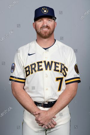 This is a 2021 photo of Derek Fisher of the Milwaukee Brewers baseball team. This image reflects the Milwaukee Brewers active roster as of when this image was taken