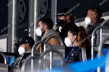 Sergio Ramos, Daniel Carvajal, Eder Militao and Eden Hazard of Real Madrid during the Spanish Liga Santander match between Real Madrid and Real Sociedad at Estadio Alfredo Di Stefano in Madrid, Spain.