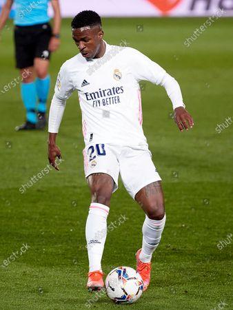 Vinicius Junior of Real Madrid during the Spanish Liga Santander match between Real Madrid and Real Sociedad at Estadio Alfredo Di Stefano in Madrid, Spain.