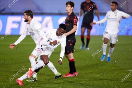 Vinicius Junior of Real Madrid celebrate a goal during the Spanish Liga Santander match between Real Madrid and Real Sociedad at Estadio Alfredo Di Stefano in Madrid, Spain.