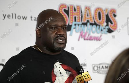 """Stock Image of Former NBA player Shaquille O' Neal is interviewed on the red carpet for Shaq's Fun House in Miami. O'Neal is set to perform in his first competitive match when he teams in All Elite Wrestling with Jade Cargill in a mixed tag to take on Cody Rhodes and Red Velvet at Daily's Place on an episode of """"Dynamite"""