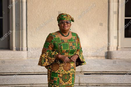 """Ngozi Okonjo-Iweala arrives at the World Trade Organization headquarters in Geneva, Switzerland, on March 1, 2021. The World Trade Organization's first female and first African Director General, Ngozi Okonjo-Iweala, officially took office on Monday, ending a six-month """"leaderless"""" period of the organization, after former chief Roberto Azevedo stepped down on Aug. 31, 2020, a year ahead of schedule."""