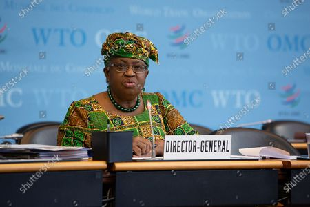 """Ngozi Okonjo-Iweala addresses a meeting of the World Trade Organization's General Council in Geneva, Switzerland, on March 1, 2021. The World Trade Organization's first female and first African Director General, Ngozi Okonjo-Iweala, officially took office on Monday, ending a six-month """"leaderless"""" period of the organization, after former chief Roberto Azevedo stepped down on Aug. 31, 2020, a year ahead of schedule."""