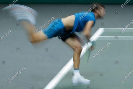 Russia's Karen Khachanov serves against Switzerland's Stan Wawrinka in their first round men's singles match of the ABN AMRO world tennis tournament at Ahoy Arena in Rotterdam, Netherlands