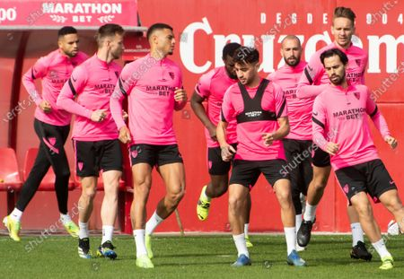 Sevilla FC's striker Munir El Haddadi (3R), midfielder 'Suso' (2R) and Dutch striker Luuk de Jong (R) during the training of the team held in Seville, Andalusia, Spain on 02 March 2021 on the eve of the second leg match of King's Cup semifinals.
