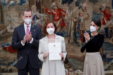 Spain's King Felipe VI (L) and Queen Letizia hand over Queen Sofia Award to Fair Play to chess player Sabrina Vega during a 2018 Spanish National Sports Awarding Ceremony at Pardo Palace, in Madrid, Spain, 02 March 2021.