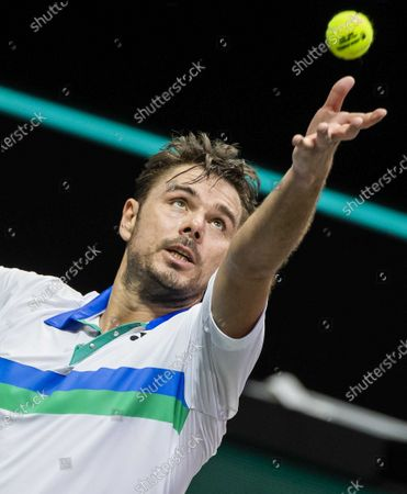 Stan Wawrinka of Switzerland in action against Karen Khachanov of Russia on the second day of the ABN AMRO World Tennis Tournament in Rotterdam, The Netherlands, 02 March 2021. The ATP tournament in Ahoy takes place without an audience due to the corona pandemic.
