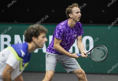 Robin Haase (L) and Matwe Middelkoop of The Netherlands in action against Mate Pavic and Nikola Mektic of Croatia on the second day of the ABN AMRO World Tennis Tournament in Rotterdam, The Netherlands, 02 March 2021. The ATP tournament in Ahoy takes place without an audience due to the corona pandemic.