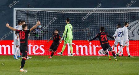 Portu of Real Sociedad celebrate a goal during the Spanish Liga Santander match between Real Madrid and Real Sociedad at Estadio Alfredo Di Stefano in Madrid, Spain.