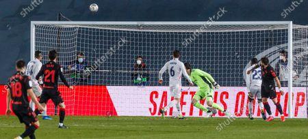 Stock Image of Portu of Real Sociedad celebrate a goal during the Spanish Liga Santander match between Real Madrid and Real Sociedad at Estadio Alfredo Di Stefano in Madrid, Spain.