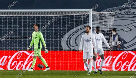 Thibaut Courtois of Real Madrid during the Spanish Liga Santander match between Real Madrid and Real Sociedad at Estadio Alfredo Di Stefano in Madrid, Spain.