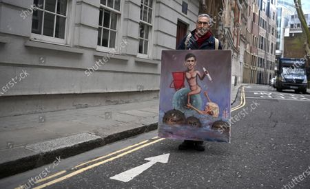 Satirical artist Kaya Mar shows his Budget painting of Britain's Chancellor Rishi Sunak in London, Britain, 02 March 2021. Britain's Chancellor of the Exchequer Rishi Sunak will deliver his budget on 03 March 2021. His statement to MPs in the House of Commons outlines the state of the economy and the government's plans for raising or lowering taxes. It also includes forecasts for how the UK economy could perform in future.