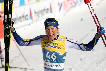 Second placed Frida Karlsson of Sweden celebrates after the 10km women's interval start free race at the FIS Nordic World Ski Championships in Oberstdorf, Germany