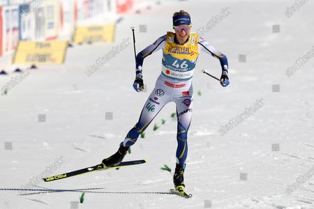 Second placed Frida Karlsson of Sweden competes on the finish line during the 10km women's interval start free race at the FIS Nordic World Ski Championships in Oberstdorf, Germany