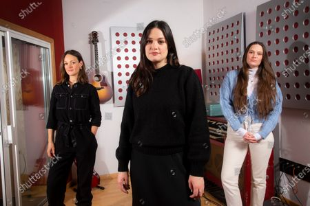 """Folk group, The Staves, from left, sisters, Emily, Jessica and Camilla Staveley-Taylor pose in a north London recording studio to promote their album """"Good Woman"""", on"""